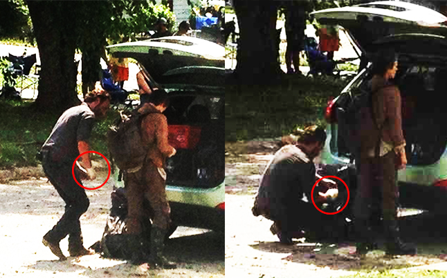 rick season 4 hand - The Walking Dead Spoilers: Photo's of Rick's Hand Injury