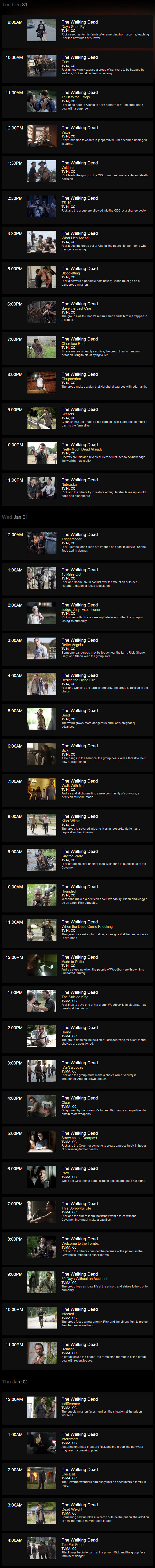 The Walking Dead New Year's Eve Marathon Schedule