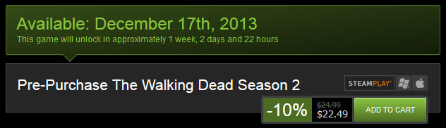 Steam Walking Dead Season Two