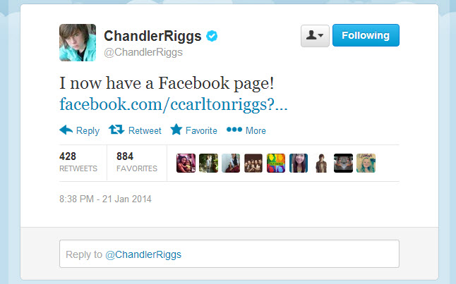 Chandler Riggs Facebook Page