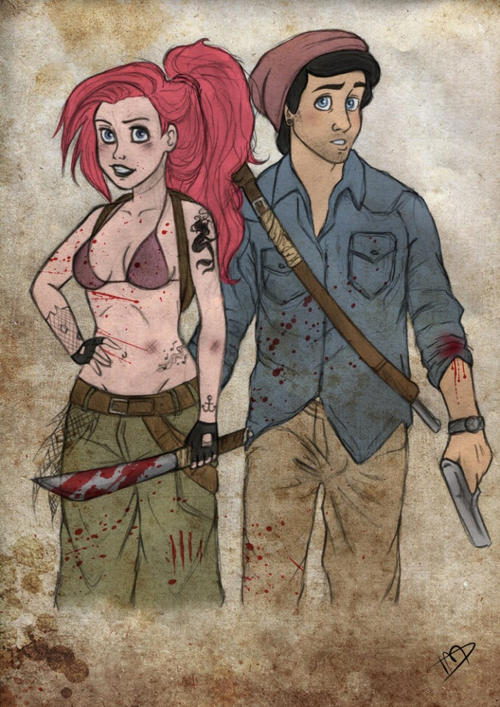 the walking disney   ariel and eric by kasami sensei d79k88m 724x1024 - Enter the Magic Kingdom (of the Dead), With The Walking Disney