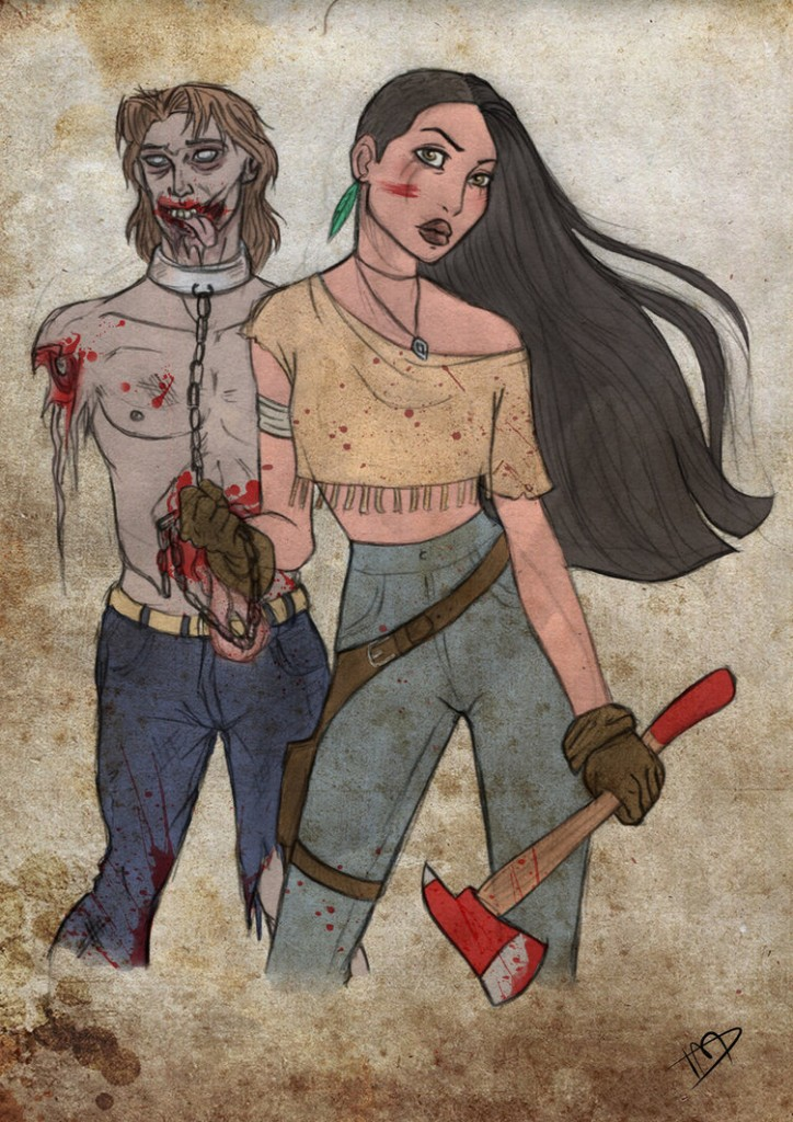 the walking disney   pocahontas and john by kasami sensei d79lrmf 724x1024 - Enter the Magic Kingdom (of the Dead), With The Walking Disney