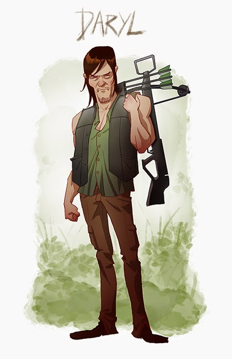 daryl toon - Five Amazing Cartoon-Style Walking Dead Characters