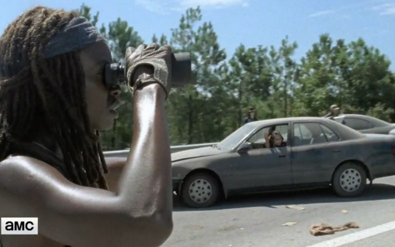michonnebinoculars 790x494 - The Walking Dead Returns This Sunday, And We've Got A Clip